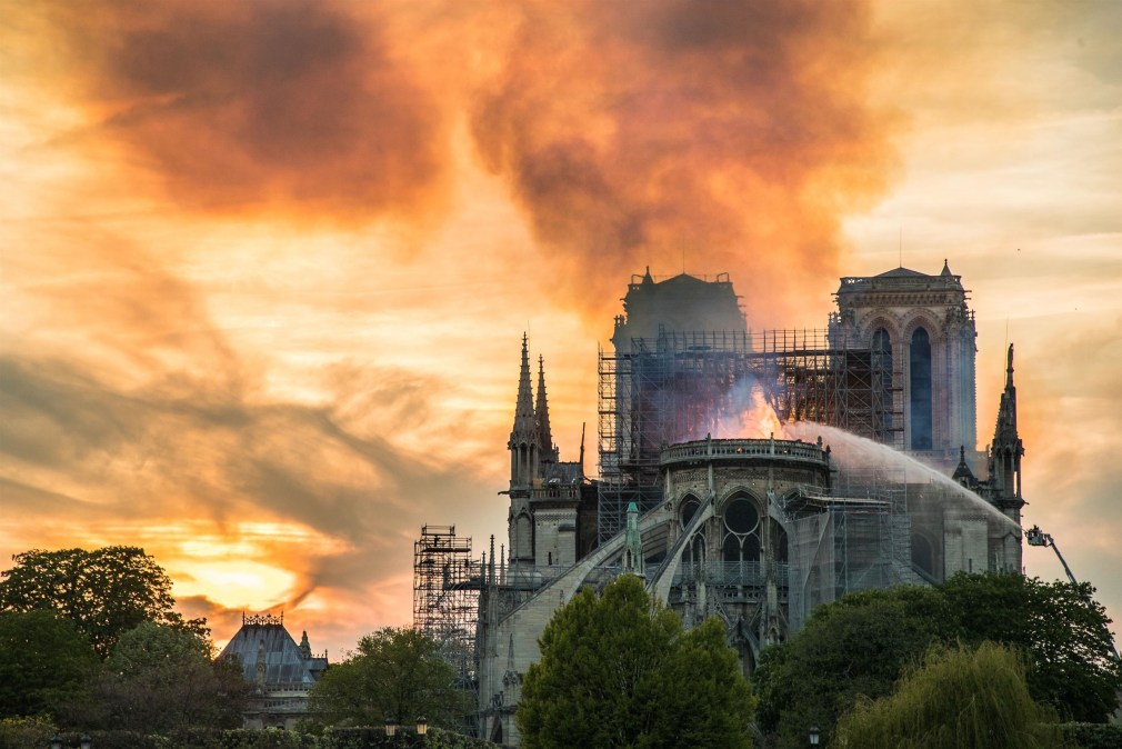 The 300ft spire collapsed in the blaze but the two towers survived