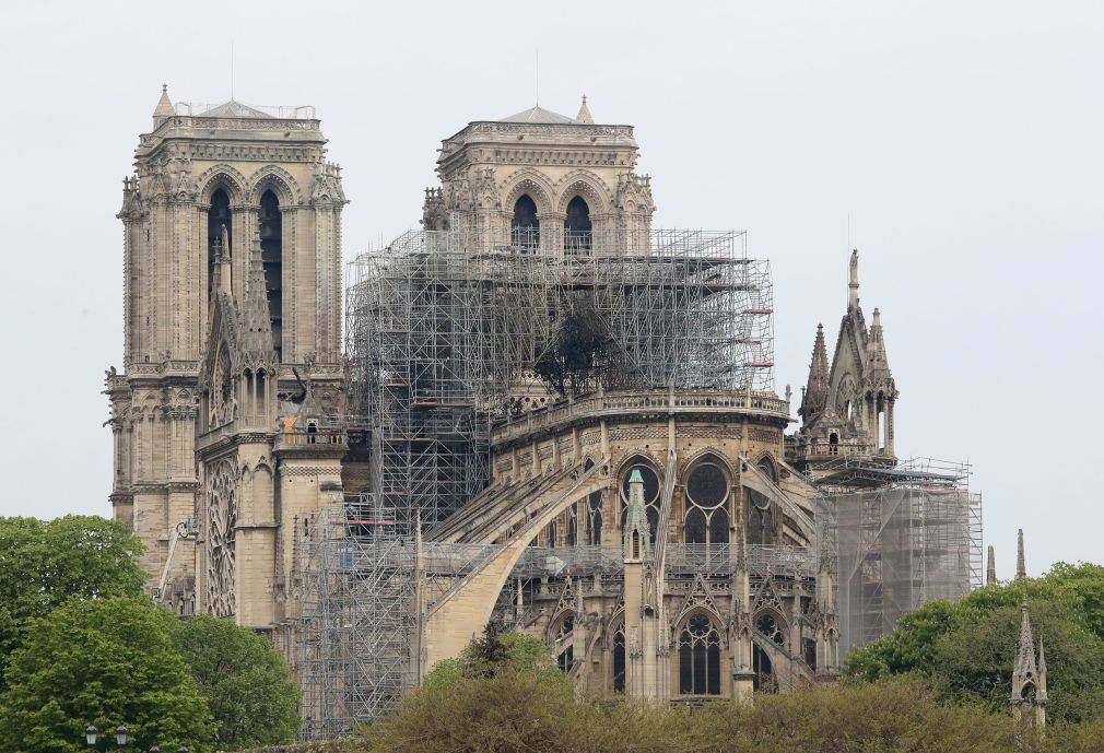 Scaffolding has been in place for renovation work at Notre Dame