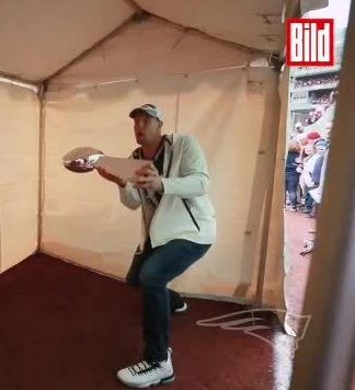 New England Patriots hero Rob Gronkowski damages the Super Bowl trophy after swinging out at a delivery from former team-mate and NFL MVP Julian Edelman