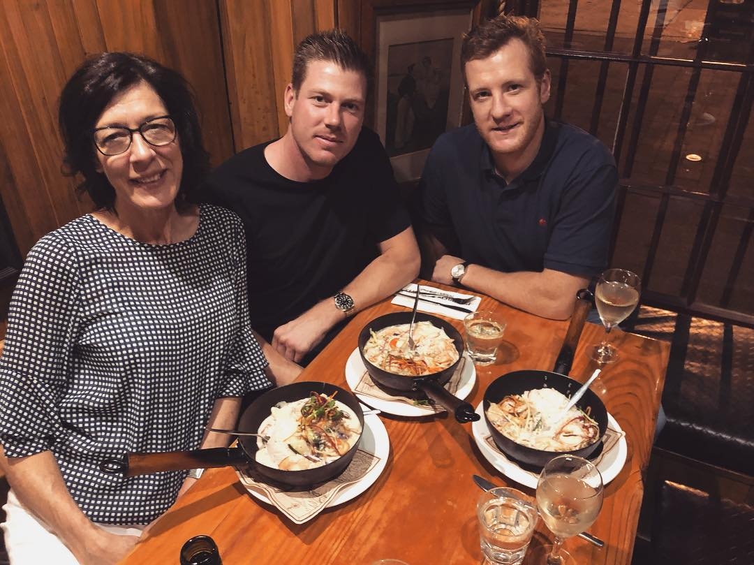 James Faulkner posted a picture with his mum and friend Rob Jubb, right, at a restaurant