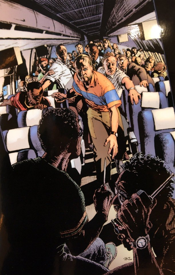An artist's impression showing how the passengers have rushed the hijackers