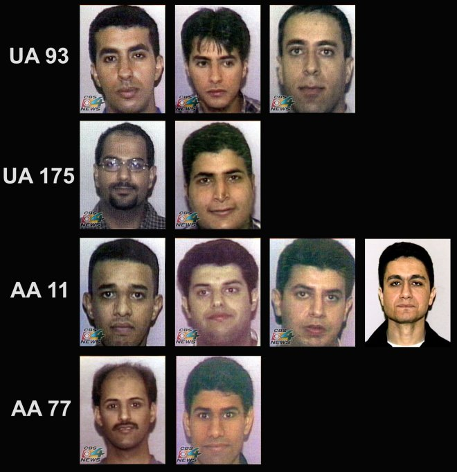 Eleven of the 19 suspected hijackers responsible for the attacks on 9/11