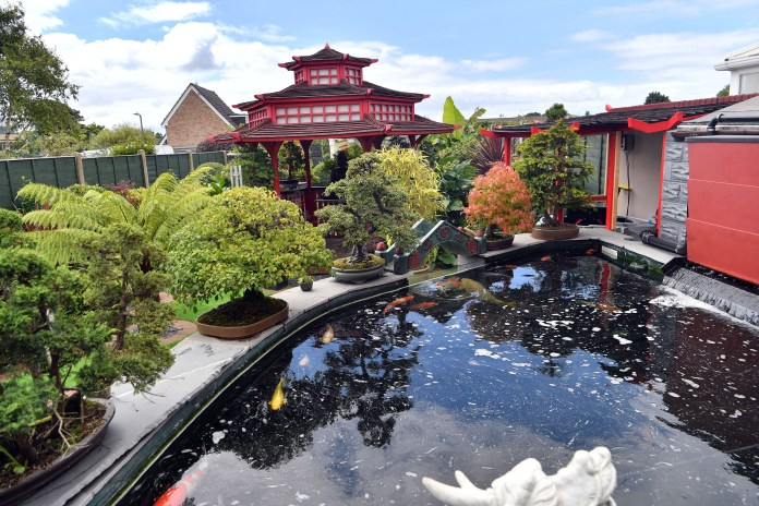 It has pagodas, waterfalls and even a koi pond