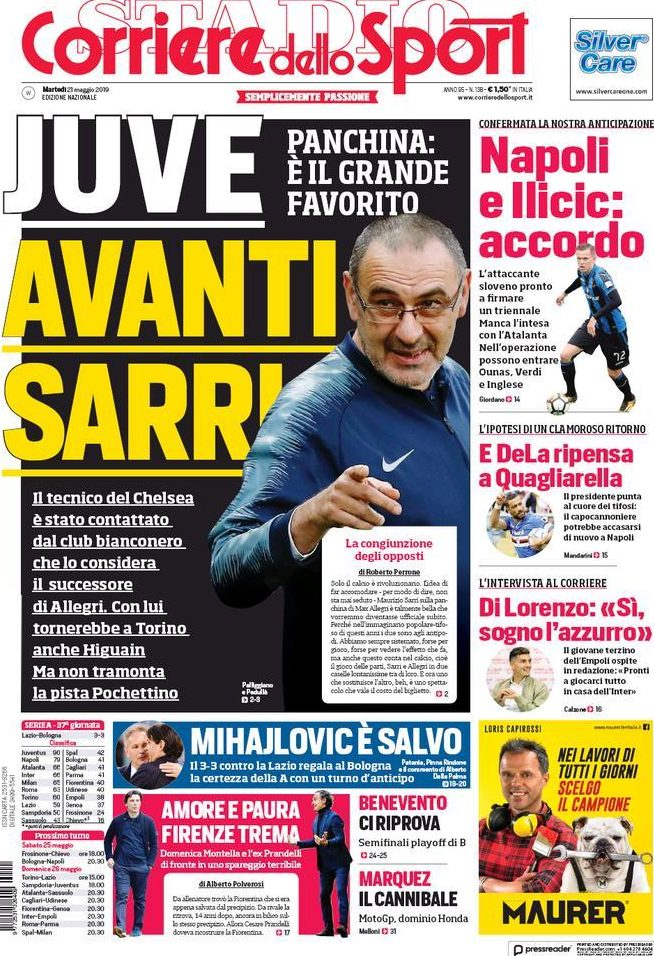 This frontt page in Italy today suggests Chelsea manager Maurizio Sarri is in pole position for the Juventus job