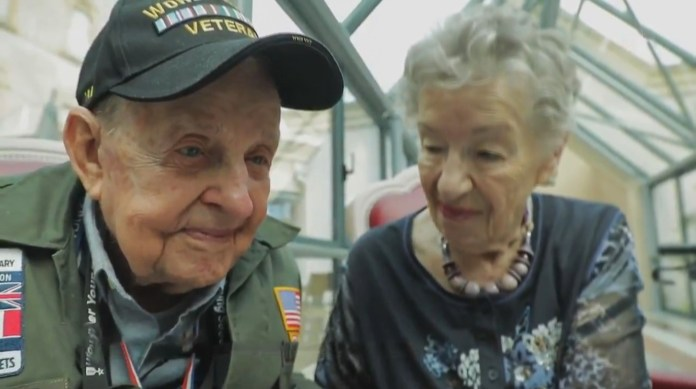The elderly pair met on the 75th anniversary of D-Day and he told her: 'I always loved you'