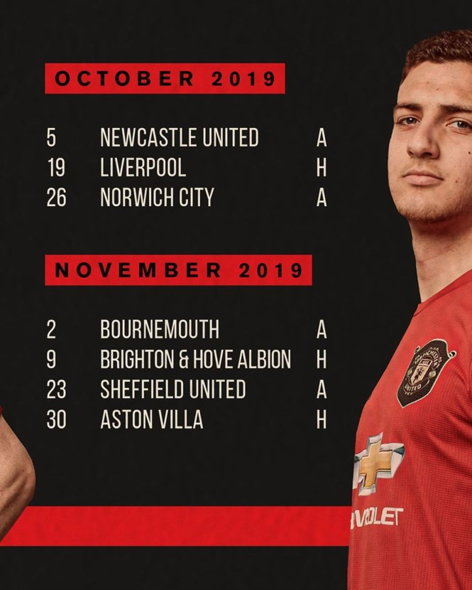 Diogo Dalot featured in the United fixture material