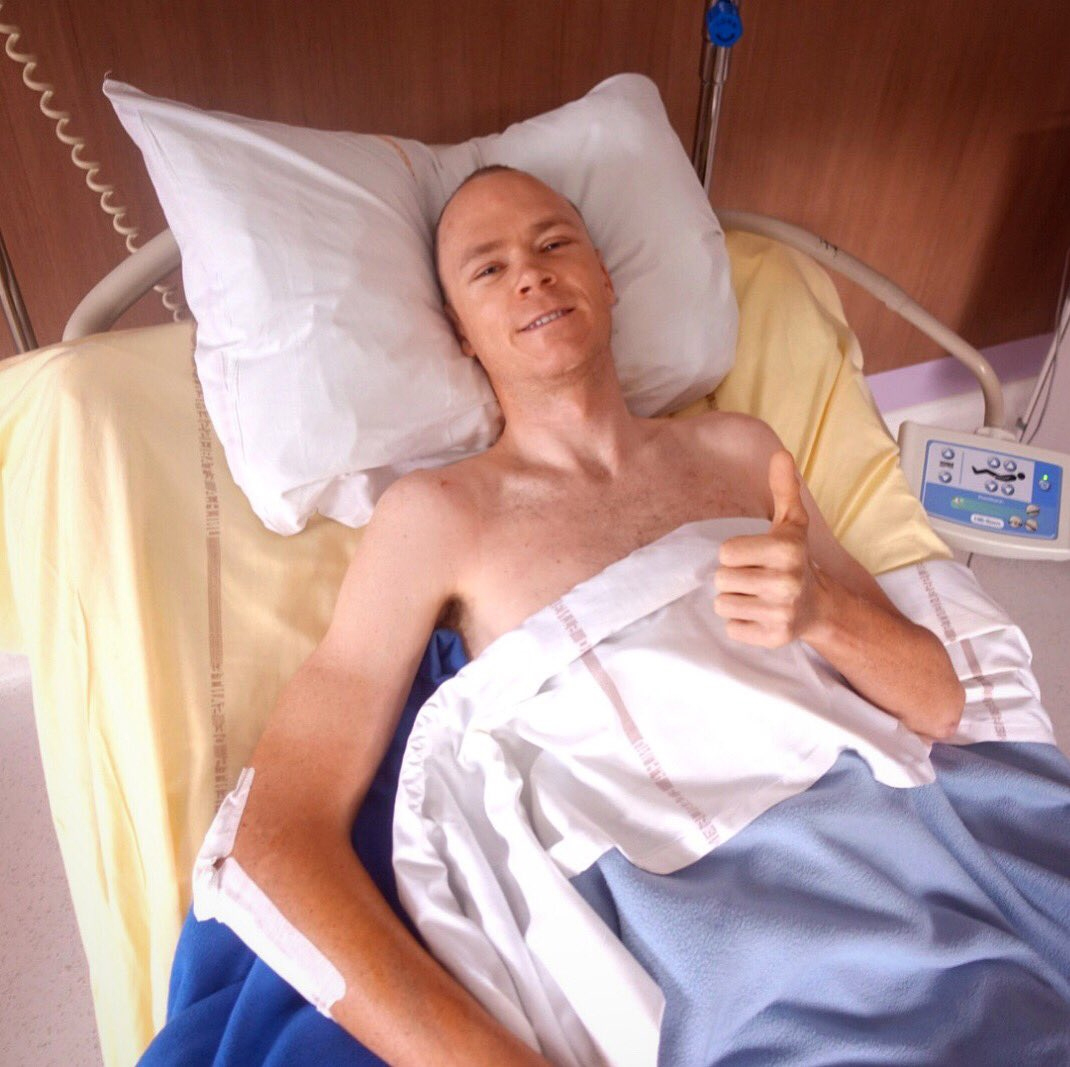 Chris Froome shared his first picture from a hospital bed after lengthy surgery