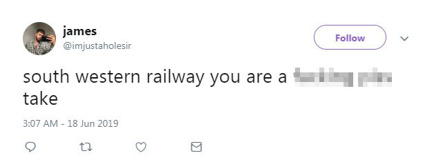 One passenger had some choice words for SWR