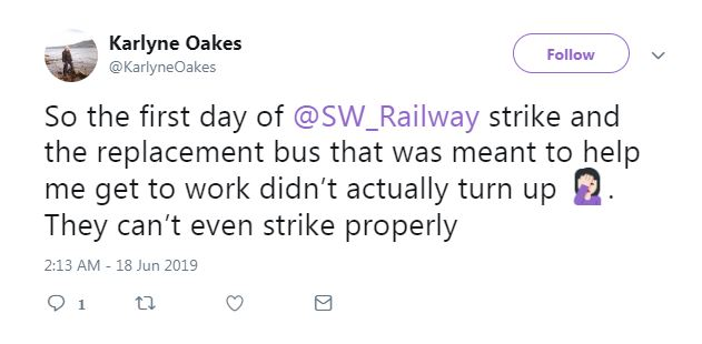 This commuter was travelling between New Malden and Raynes Park when she said this about her rail replacement bus