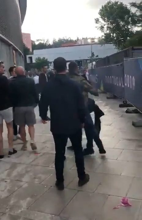 Tommy Robinson was filmed throwing a punch outside the game