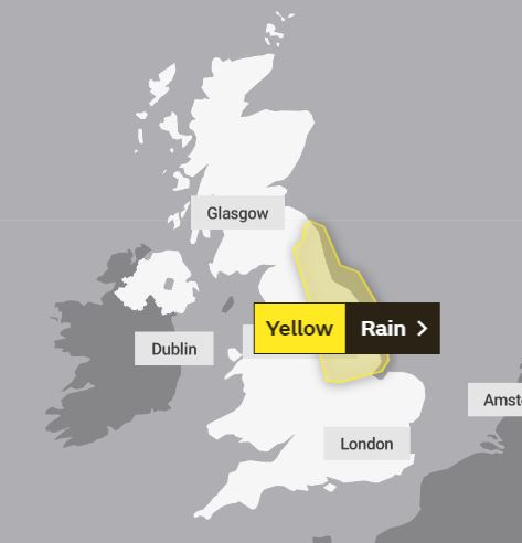 The Met Office has issued warnings for rain on Wednesday and Thursday for areas along the eastern coast