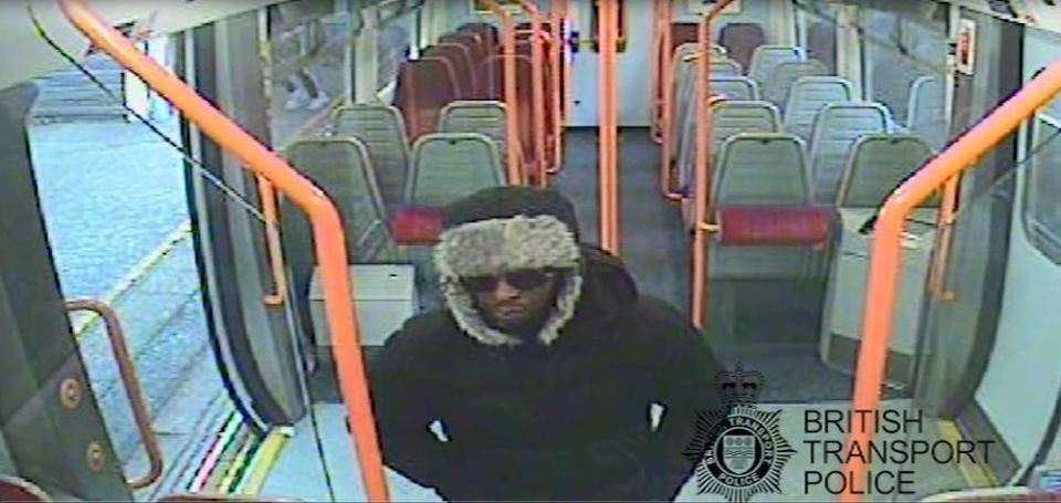 CCTV footage by British Transport Police of Darren Pencille boarding a London-bound train at Guildford, Surrey