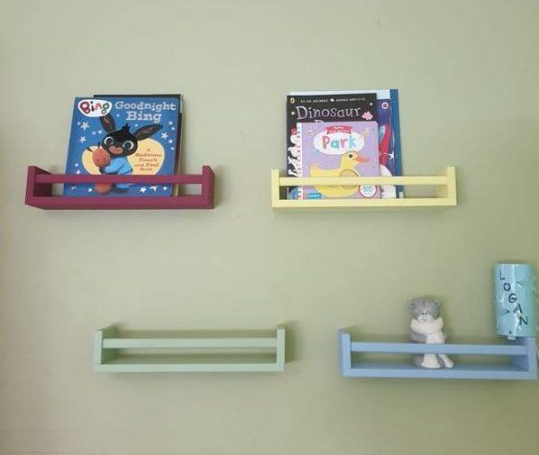 3 ikea spice racks into bookshelves for