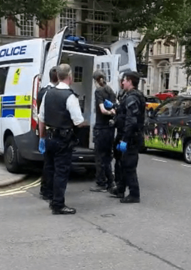 This is the moment a 29-year-old is arrested on suspicion of GBH after a man was stabbed outside the Home Office