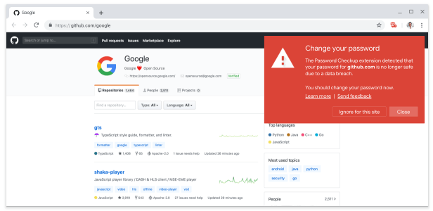 Google's Chrome extension will show this warning if you're using a breached password