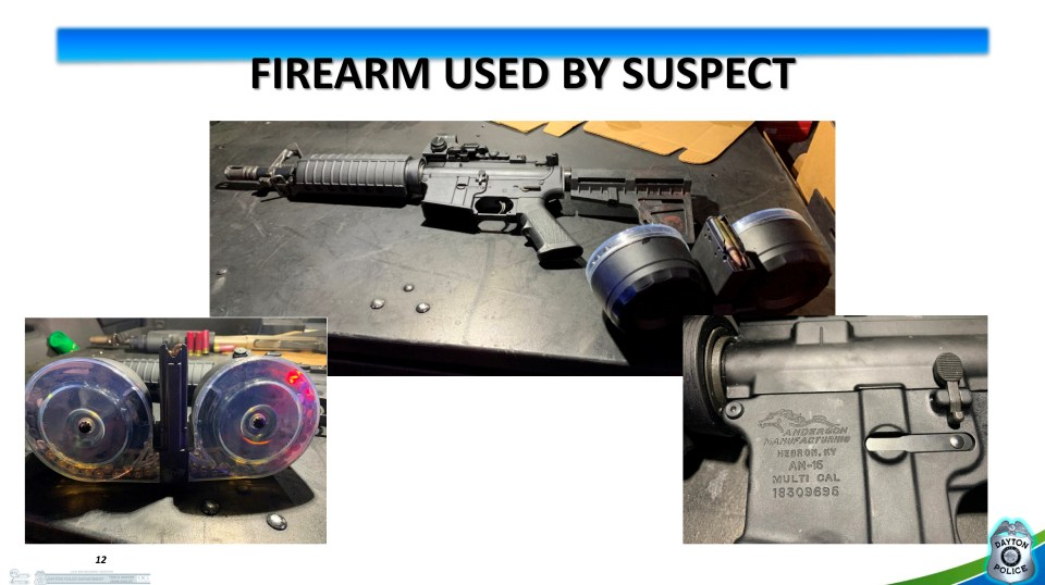 This image is from the police Powerpoint presentation at a press conference where they show the weapon and its extended magazine