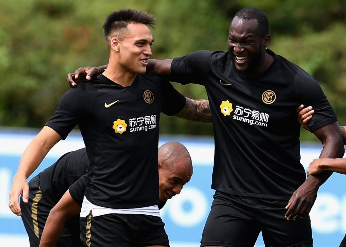 Romelu Lukaku has an uproarious time in training for Inter with Lautaro Martínez