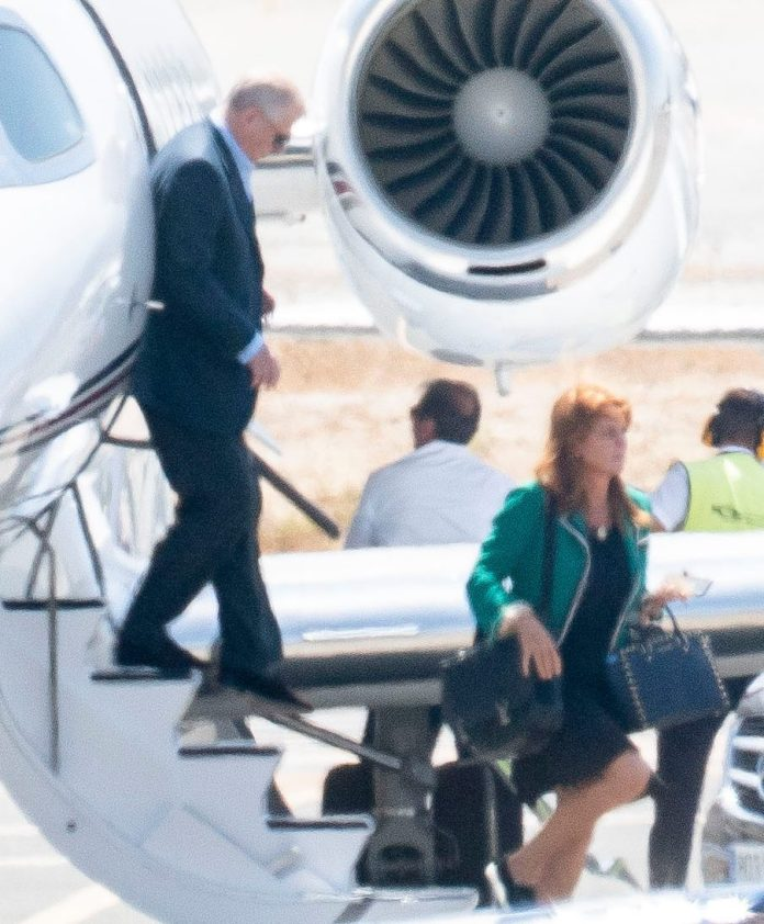 Prince Andrew and Sarah Ferguson were spotted getting off a private jet in Malaga today