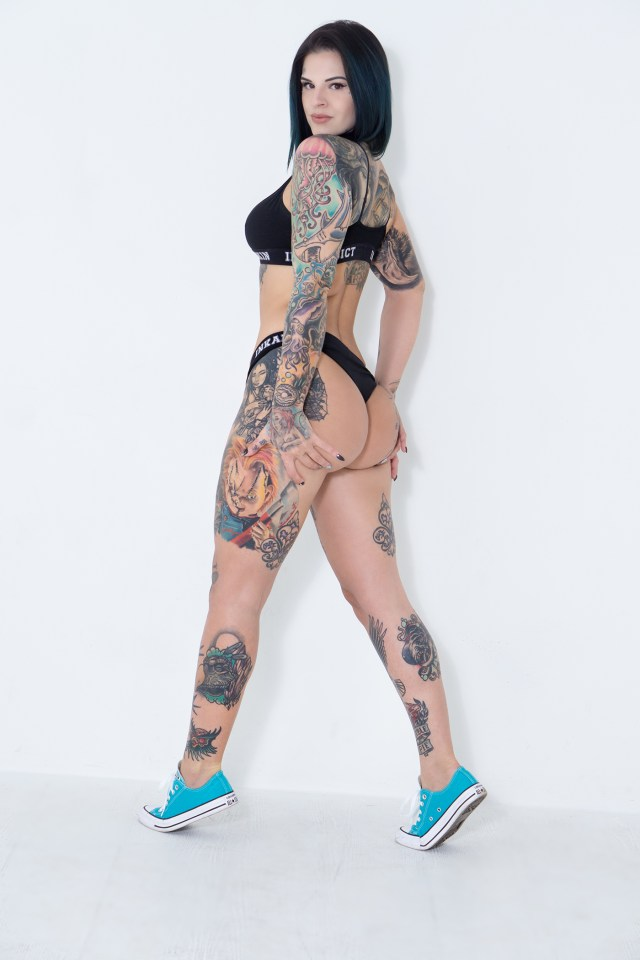The model, 32, is a recognised tattoo model