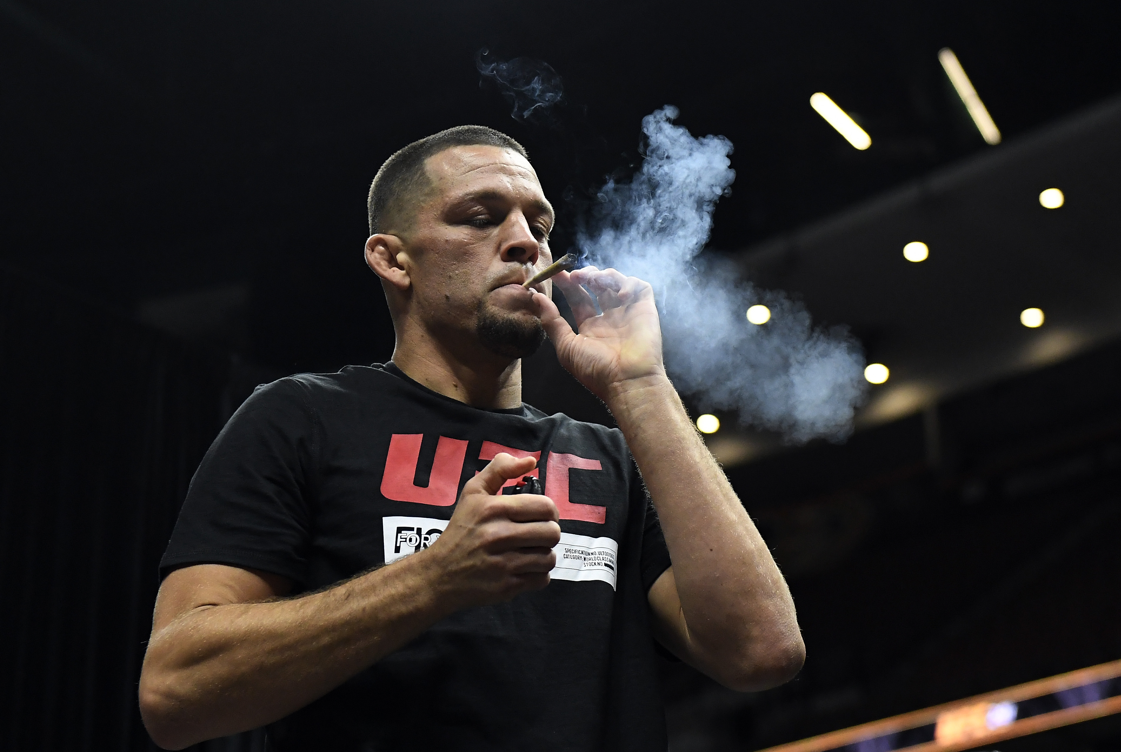 Nate Diaz smoked cannabis oil on stage during the UFC 241 open workouts