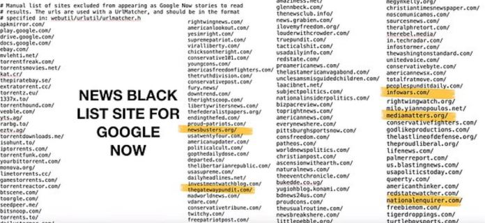 This is allegedly a leaked document showing websites on a Google blacklist