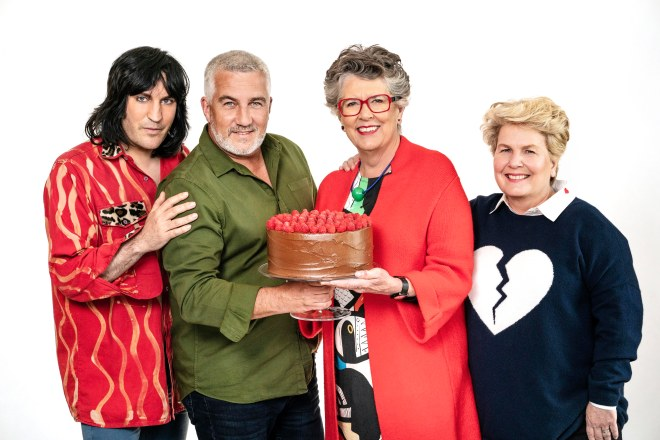 The Great British Bake Off judges and hosts, Noel, Paul, Prue and Sandi