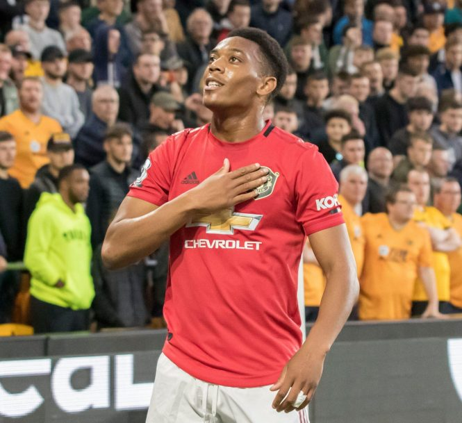 Anthony Martial scored his 50th goal for the club with a powerful left-footed finish