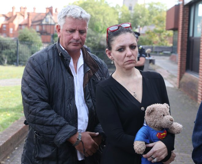 Jed Foster's mum Joelene Hannington wrote her son would have never committed such a 'horrific' act - pictured here arriving at Reading Magistrates' Court today