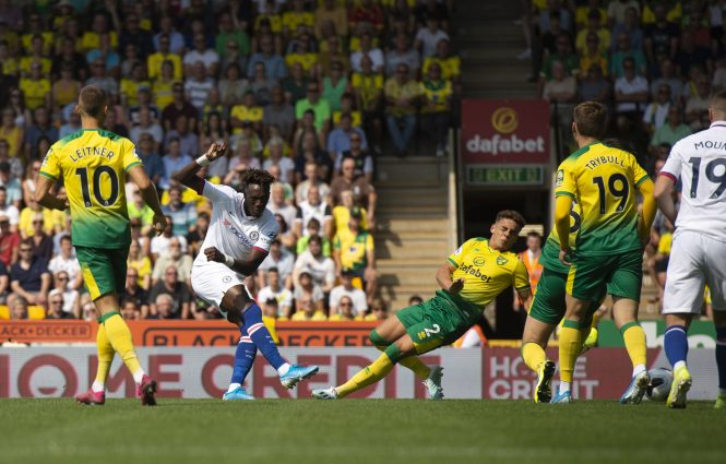 Abraham scores his first goal for Chelsea as he opens the scoring at Carrow Road