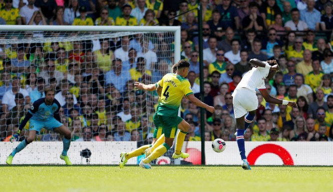 Abraham drives home from the edge of the area to score his second goal of the day