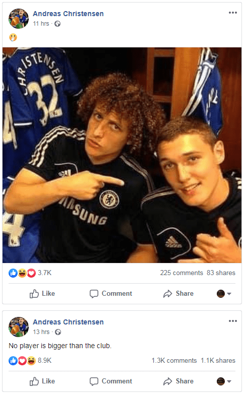 Andreas Christensen appeared to take a pop at David Luiz for signing for Arsenal
