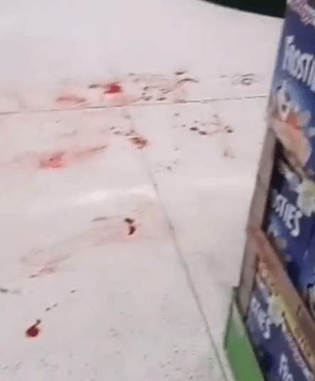 Blood spatter was found left on the floor on the supermarket