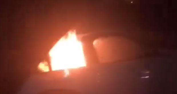 Yobs torch a car in this shocking scene
