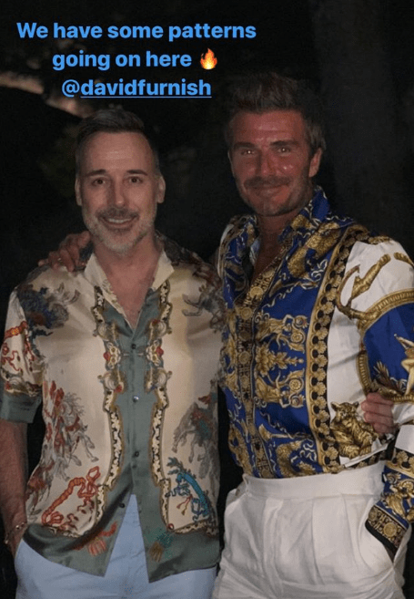 The two Davids were matching in their gaudy shirts