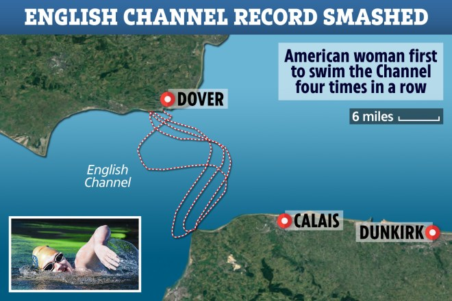 This map shows the different routes she took as she swam across the English Channel