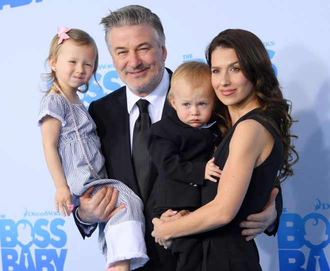 Actor Alec Baldwin and his wife Hilaria, who already have four children, revealed a fifth is in on the way after suffering a miscarriage earlier this year (pictured 2017)