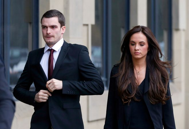 Adam Johnson arrives at his hearing with then partner Stacey Flounders in 2016