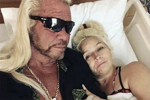Dog visiting Beth in hospital during her cancer treatment