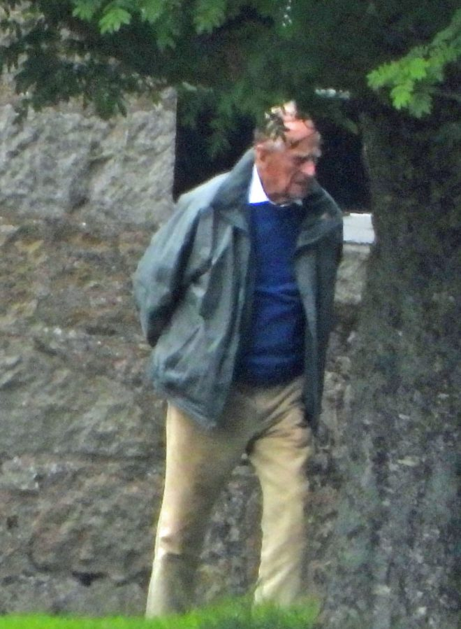 Prince Philip was seen in the grounds of the castle