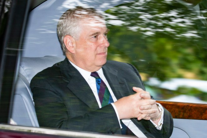 Prince Andrew was driven to a church service while staying at Balmoral