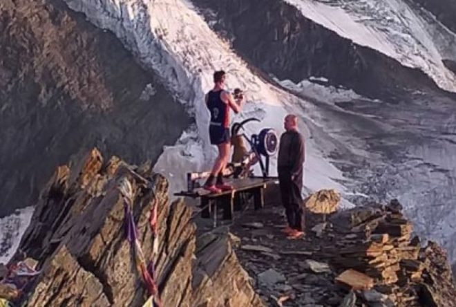 Matt Disney at the top of Mont Blanc with the £900 rowing machine