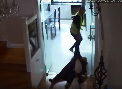 The man was filmed dragging an unconscious woman through the home