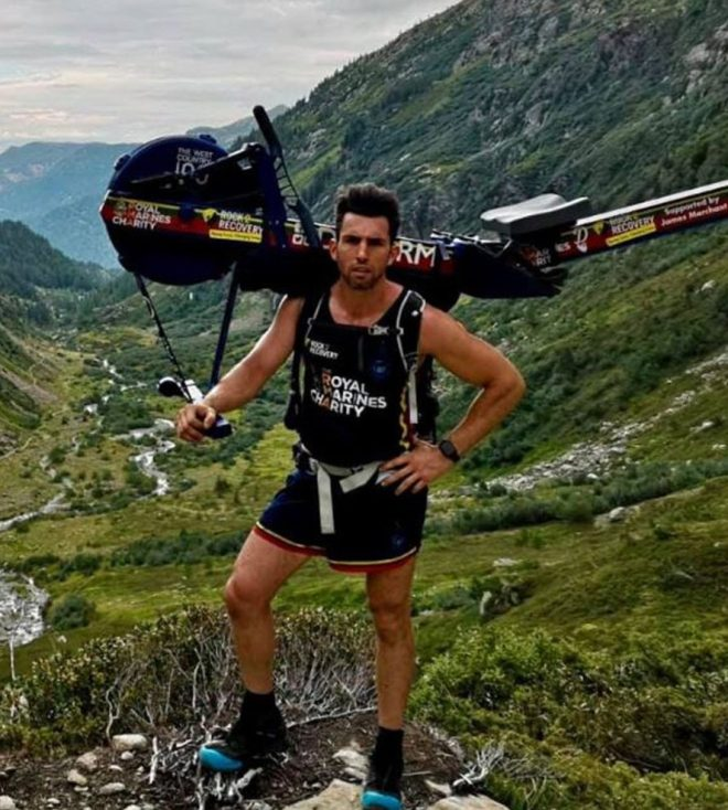 The former Royal Marine carried the rowing machine 15,780ft to the top of Europes tallest mountain