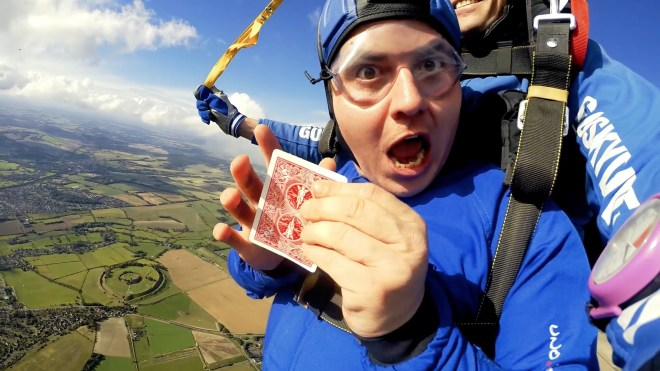 Martin Rees performed 11 magic tricks during a single skydive