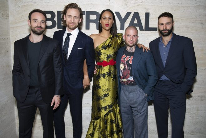 Charlie Cox, Tom Hiddleston, Zawe Ashton, Jamie Lloyd and Eddie Arnold at the Broadway opening night of Betrayal on September 5, 2019 in New York City