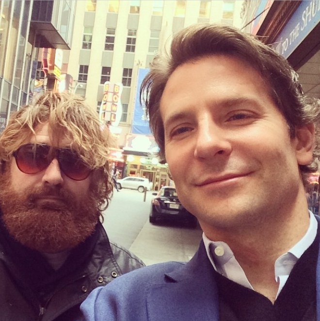 The lookalike with Bradley Cooper during filming of The Hangover 3 where he acted as a body double for Zach