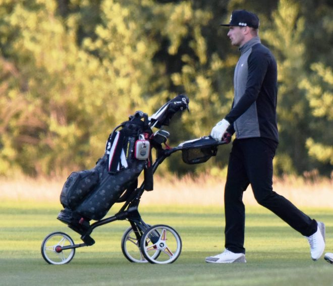 Footie paedo Adam Johnson pictured playing golf at the Wynyard Golf Club