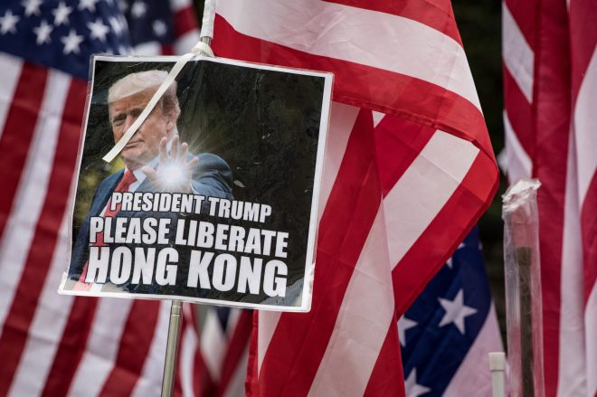 Many banners were calling on Donald Trump to liberate Hong Kong
