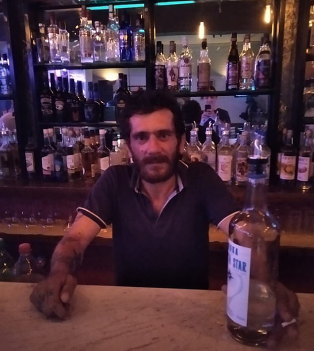 One image shows the serial sex offender posing behind a bar with a bottle in his hand