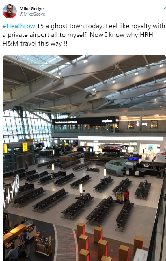Heathrow's Terminal 5 was like a 'ghost town' today